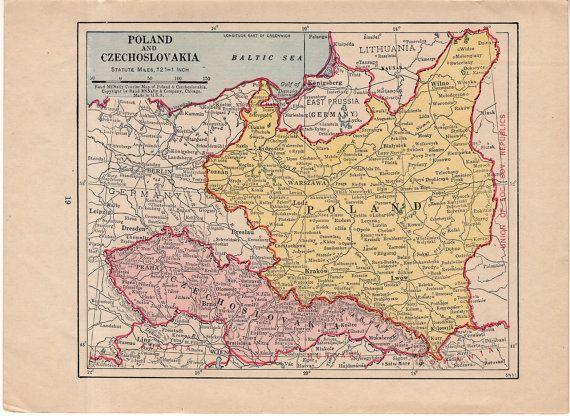C 1930 POLAND & AUSTRIA mini map original vintage map