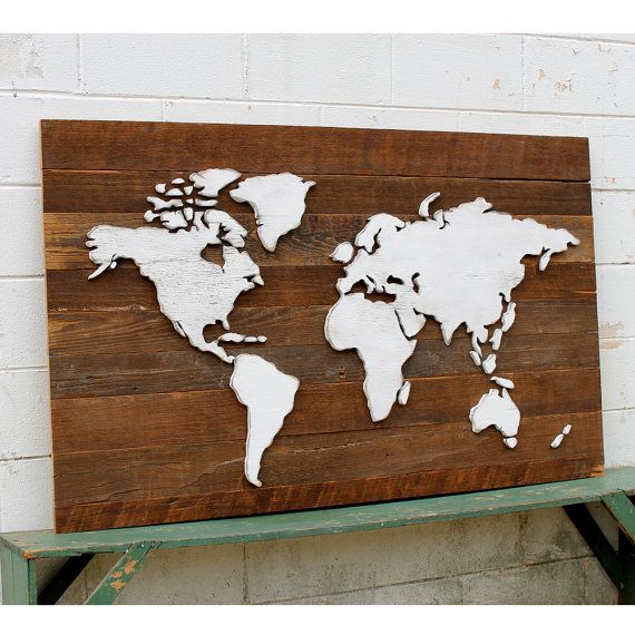 Rustic World Map Wooden Reclaimed Wood Large von SlippinSouthern, $365.00