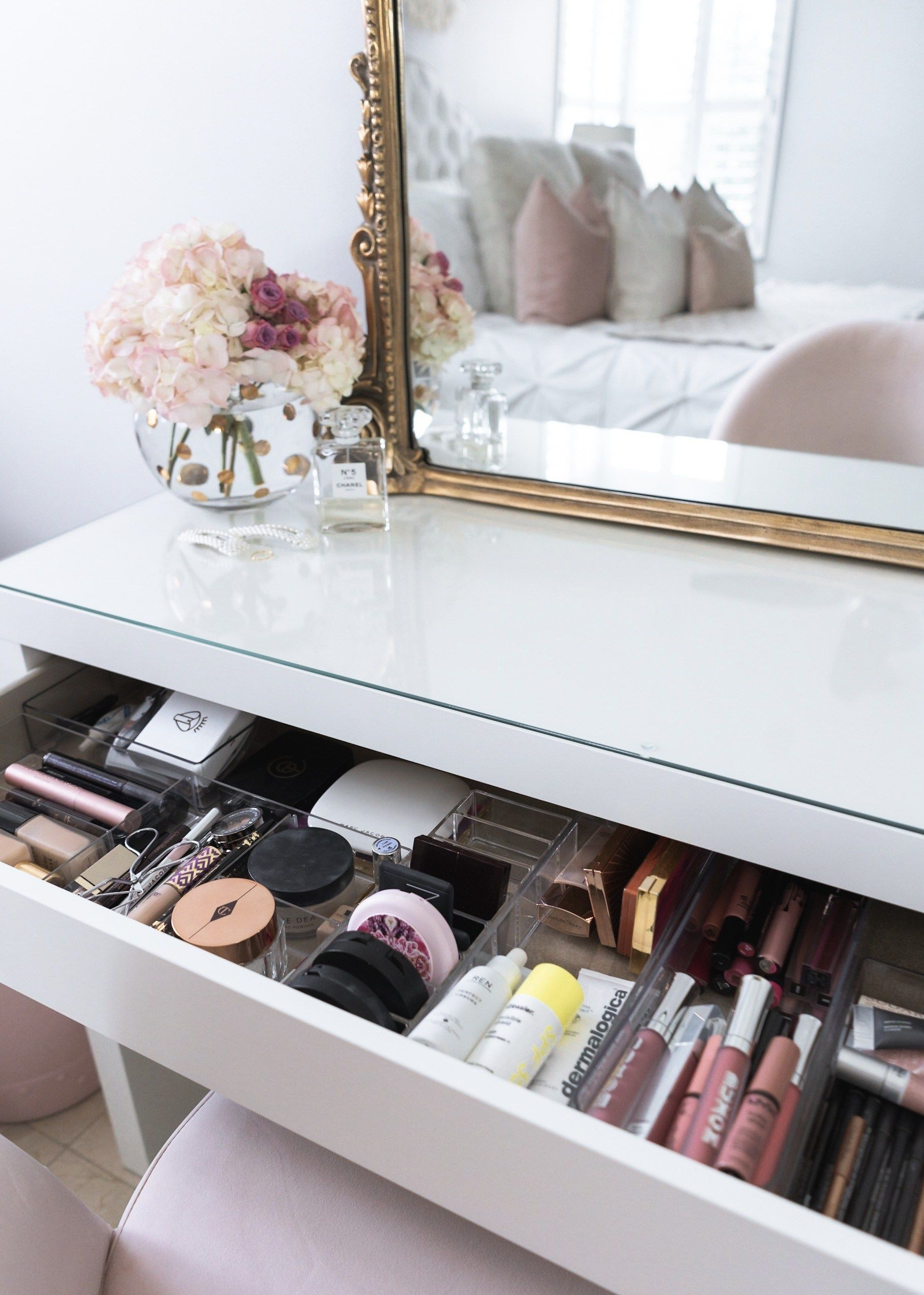 How I Organize My Makeup In My Vanity The Fancy Things Malm Dressing Table Ikea Malm Dressing Table Makeup Table Vanity
