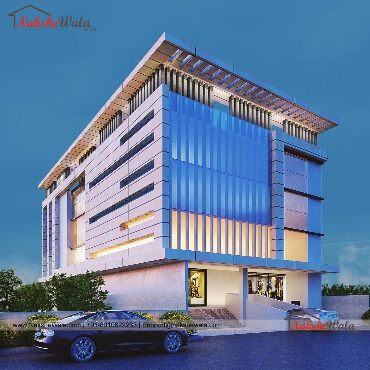 Commercial Office Building 3D-Front Elevation Design By