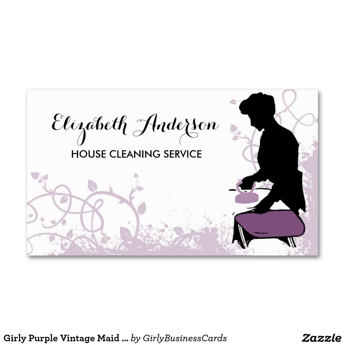 Girly Purple Vintage Maid Silhouette Housekeeping Double-Sided ...