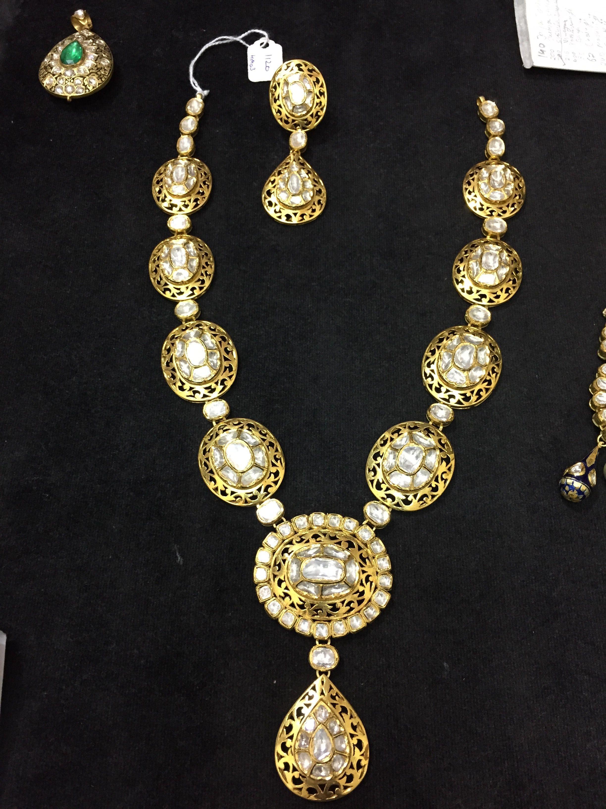 Single row polki necklace GoldJewelleryKundan