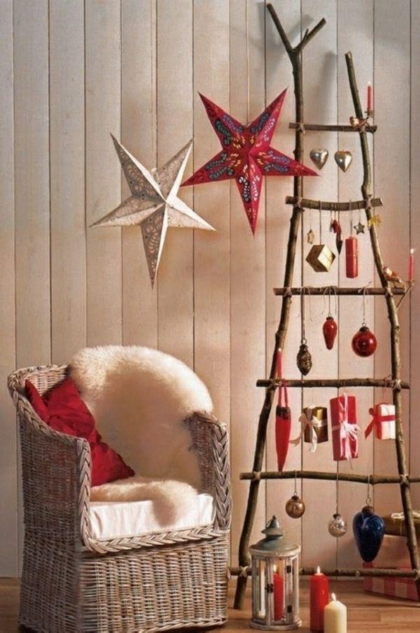 Weihnachtsbaum basteln aus naturholz mit 3d papiersternen for Pinterest weihnachtsbaum