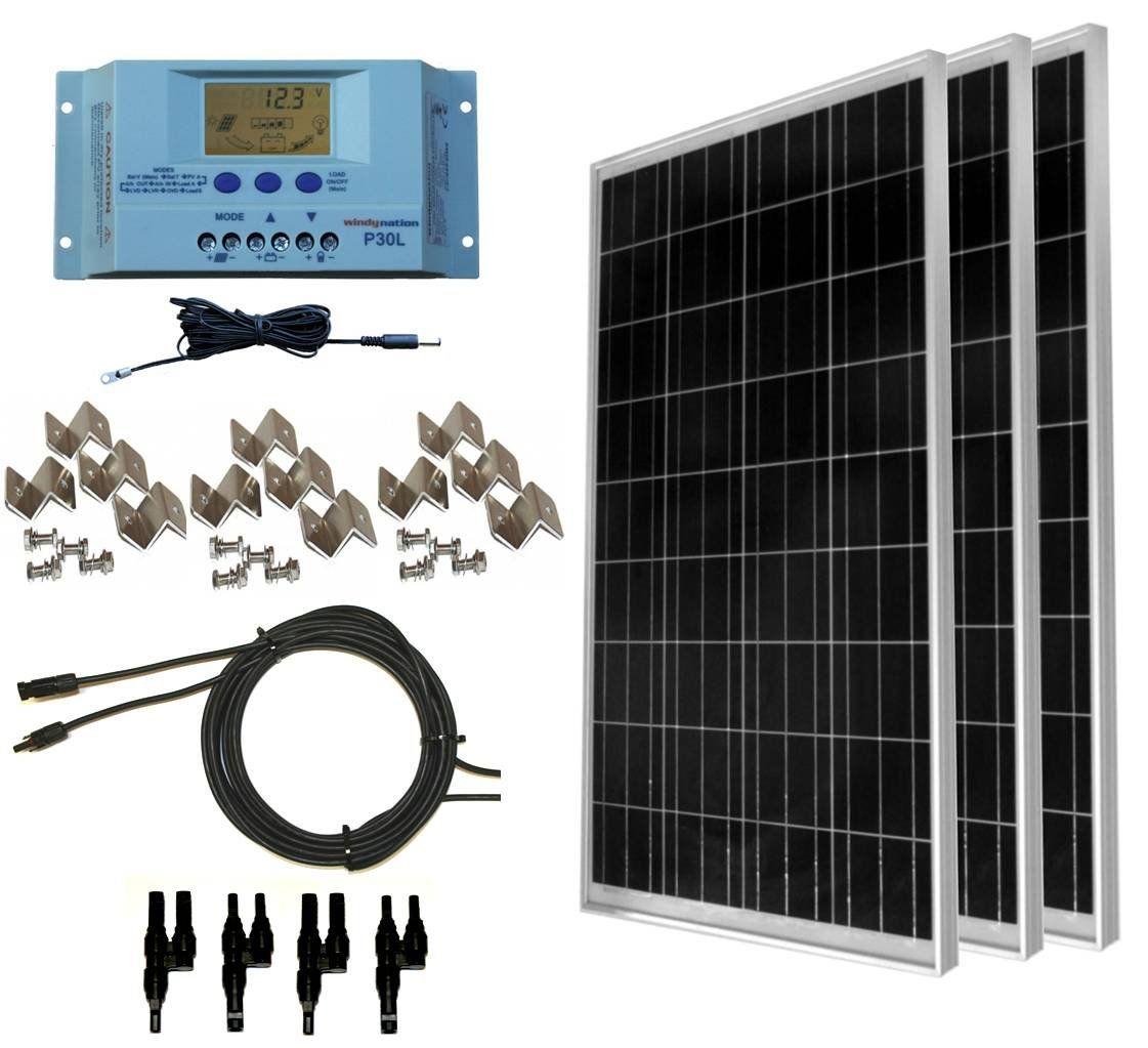 Windynation 300 Watt 3pcs 100 Watt 12v Solar Panel Off Grid Rv Boat Kit W Lcd P30l Solar Charge Controller Sola Solar Kit Solar Energy Panels Solar Panels