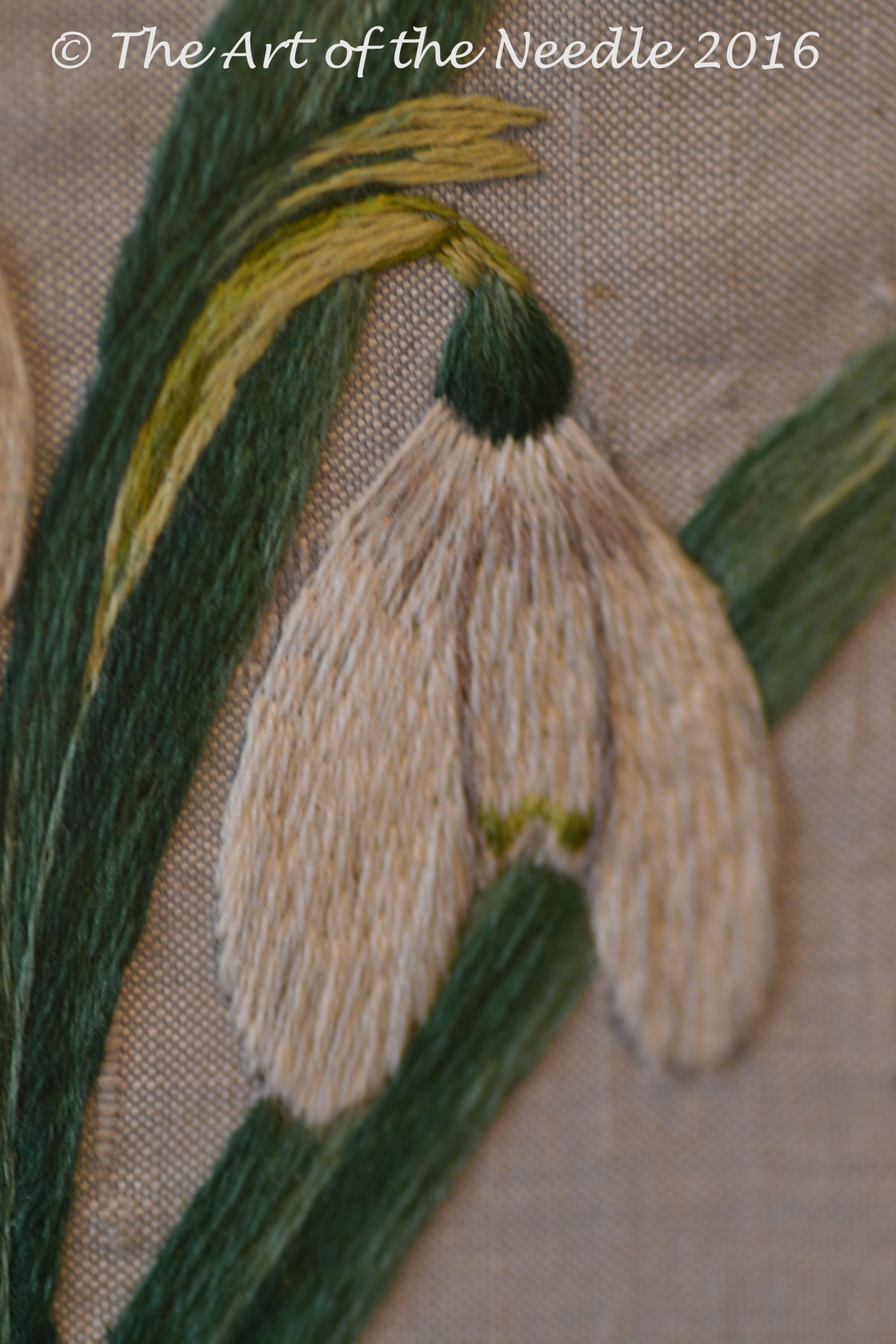 Detail of Natural Silk Shaded Snowdrops by Elizabeth Tapper of The Art of the Needle.