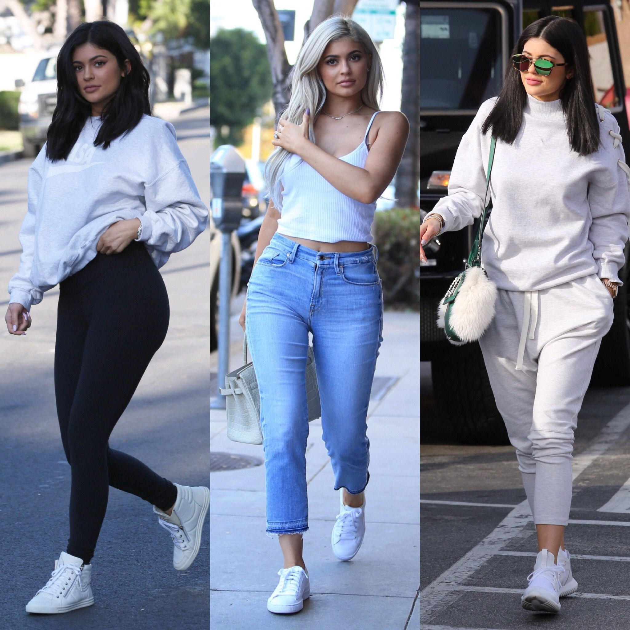 kylie jenner outfits style white outfits kylie jenner streetstyle kylie jenner blonde kylie jenner brunette kylie