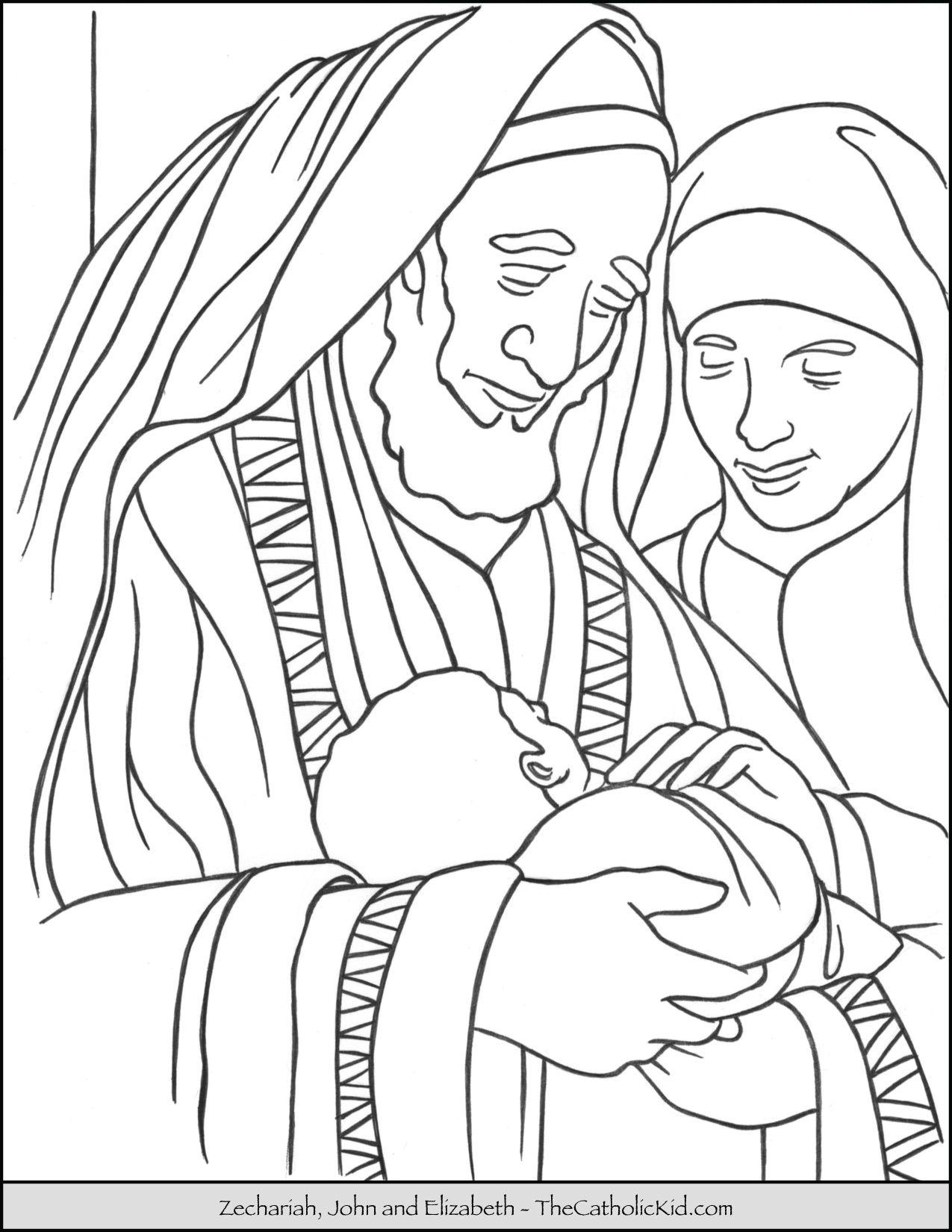 Zechariah, Saint John & Saint Elizabeth Coloring Page