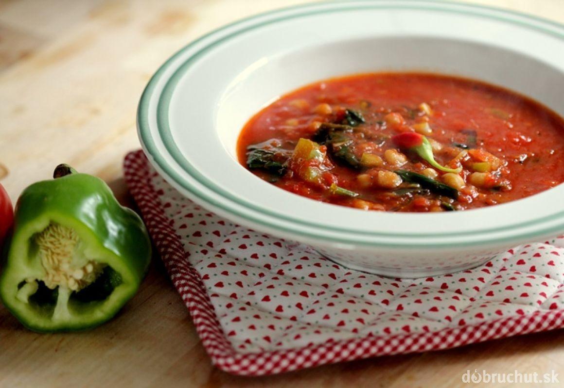 Paradajková polievka so špenátom