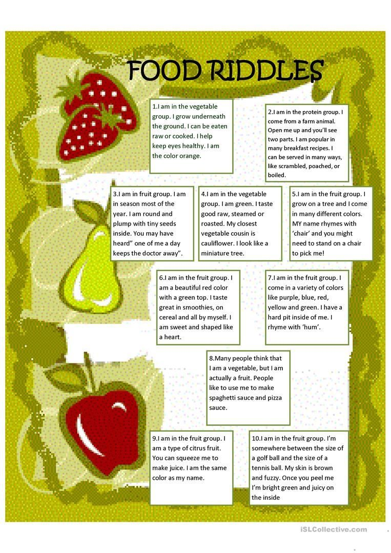 Food Riddles worksheet Free ESL printable worksheets