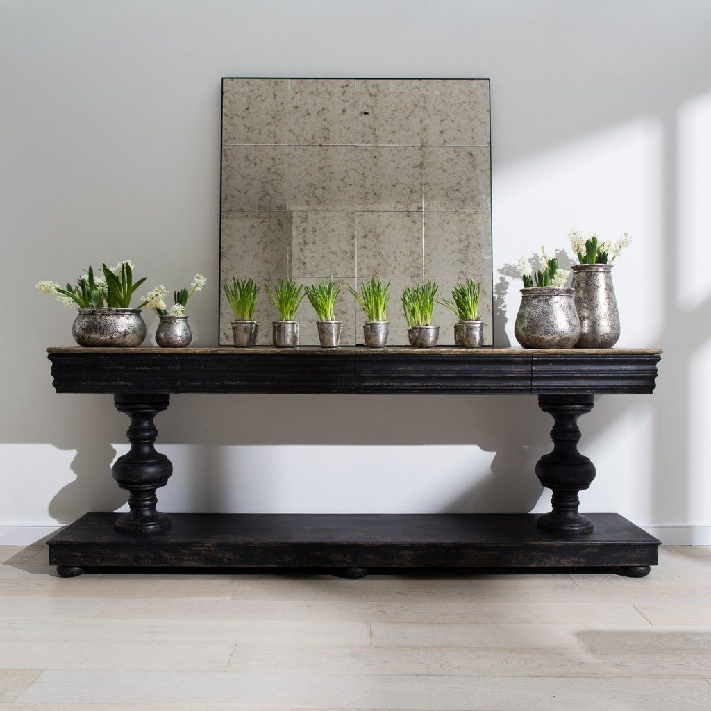 One World Woodcroft Balustrade Oak And Black Console Table With