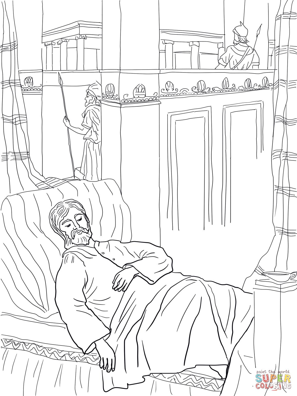 Solomon Asks For Wisdom Coloring Page Supercoloring Com