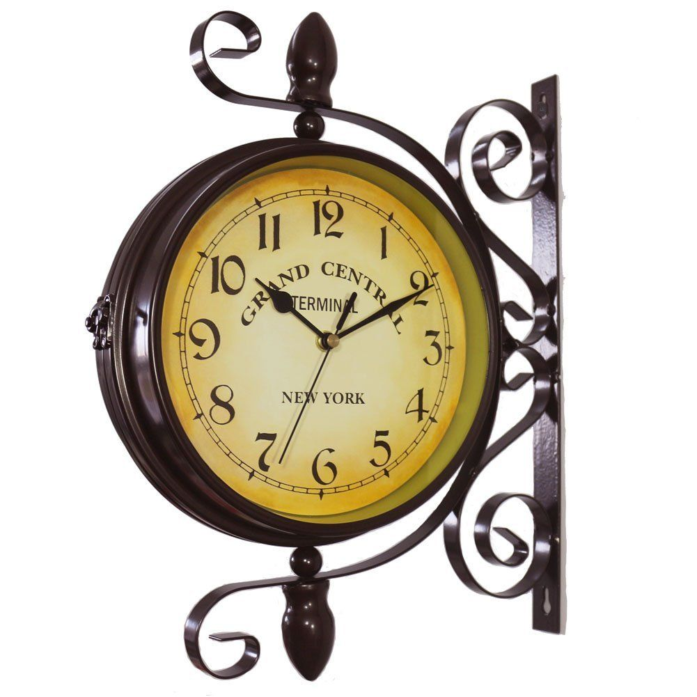 Kiaotime European Vintage Double Sided Station Metal Wall Clock Art Clock Decorative Double Faced Wall Clock 360 Degree Rotate Dark Brown Color Vintage Wall Clock Clock Wall Art Clock Wall Decor