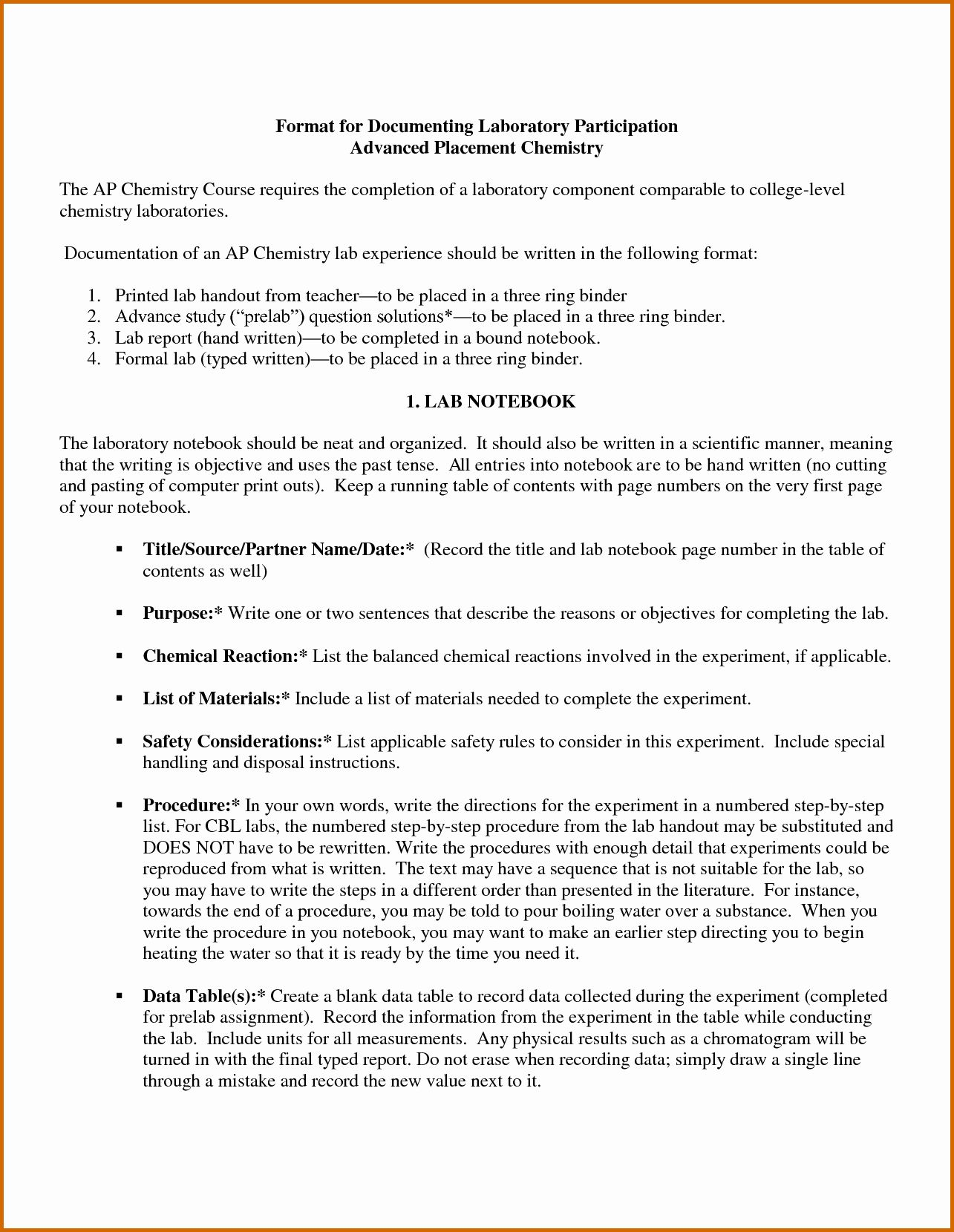 High School Lab Report Template In 2020 Lab Report Template