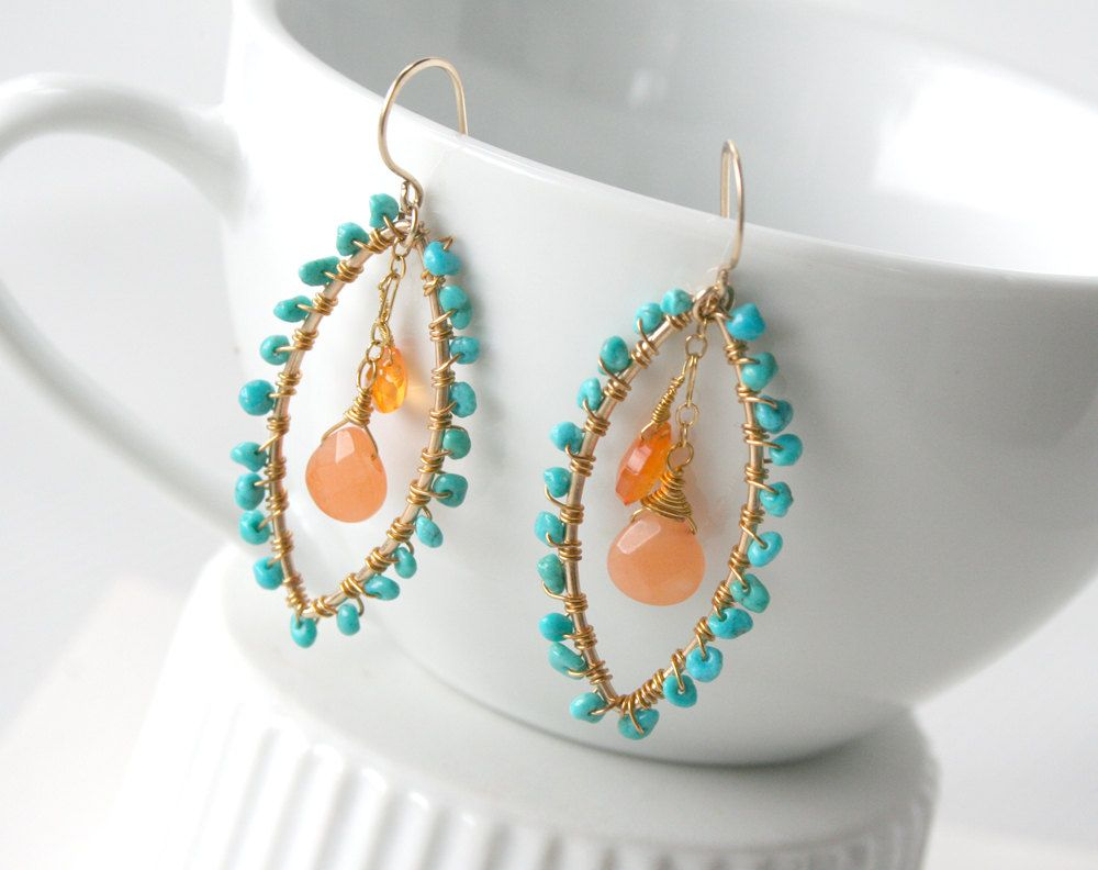 Turquoise Earrings  Wire Wrapped Chandelier Hoops $3200, Via Etsy