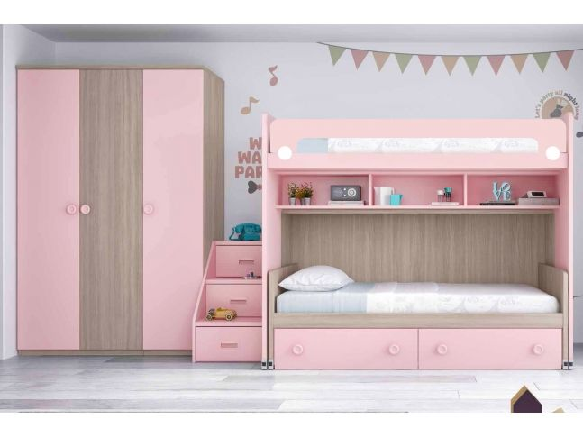 lit superpos fille avec armoire personnalisable f266 glicerio chambre b b pinterest. Black Bedroom Furniture Sets. Home Design Ideas