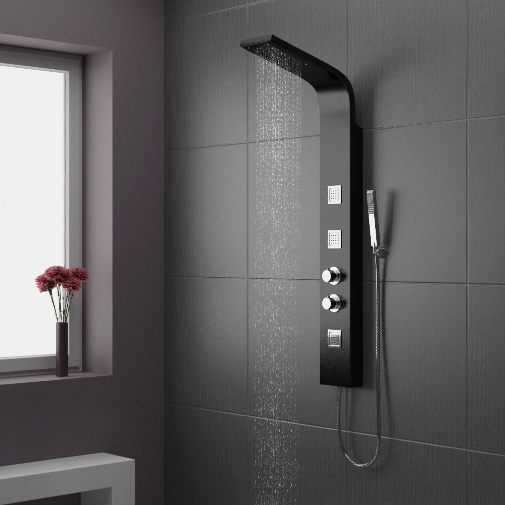 Beautiful Maverick Tower Shower Panel (Thermostatic)   Black