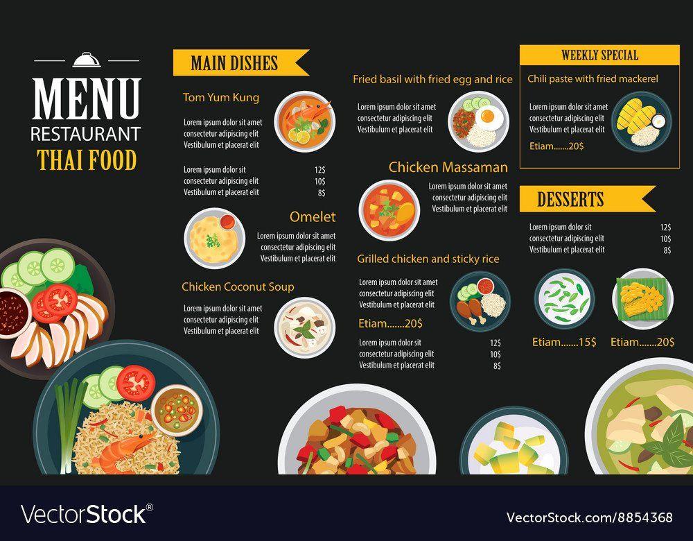 Free Menu Designs Templates Unique Thai Food Restaurant
