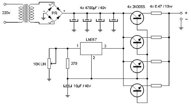 15 A adjustable power supply circuit | Power supply circuit, Electronic  circuit projects, Electronic schematics | Adjustable Power Supply Wiring Diagram |  | Pinterest