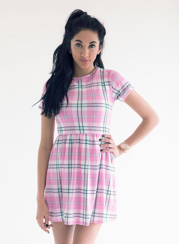 Baby Pink Tartan Skater Dress £20   LOVE CLOTHING   Pinterest ...
