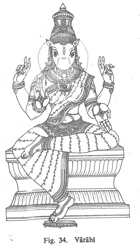 Varahi Goddess Artwork Hindu Art Ancient Drawings