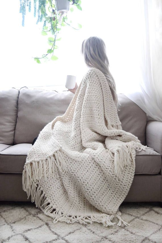 Chunky Knit Throw Blanket Crochet Afghan Tassels / Crochet Throw ...
