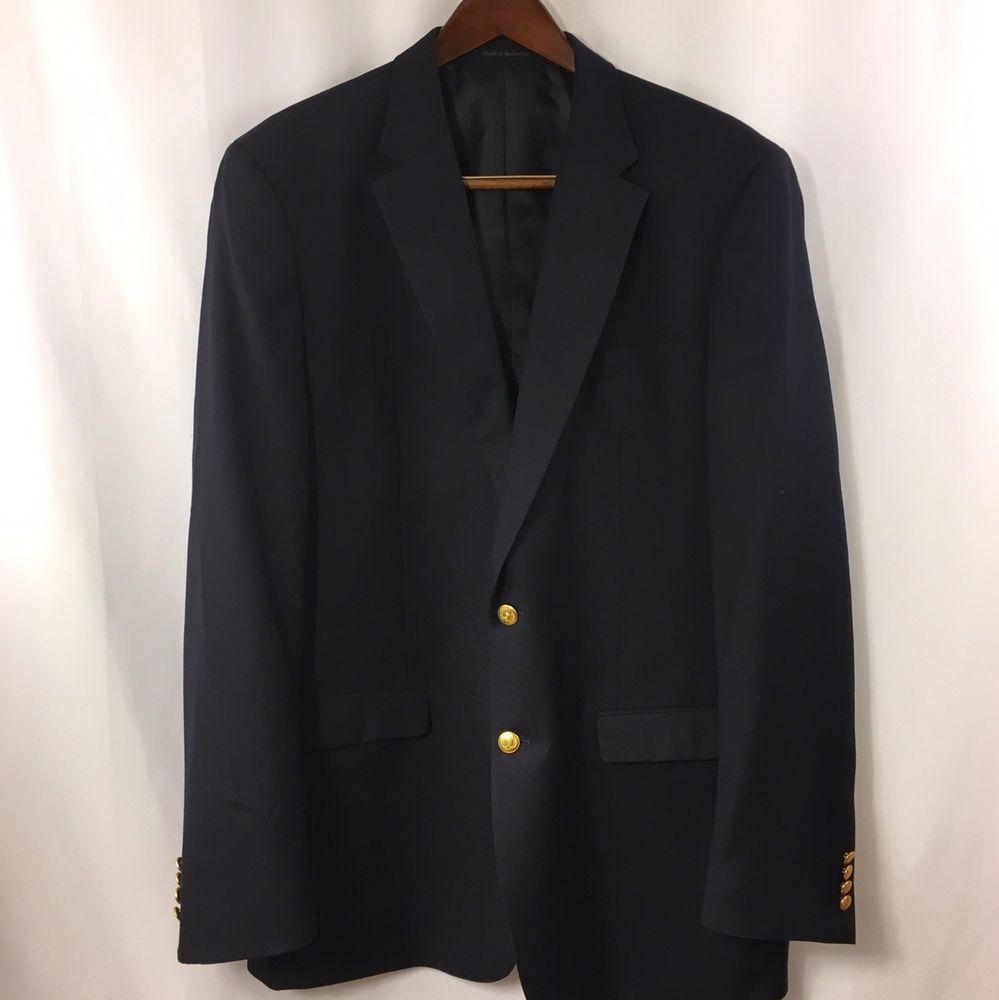 Michael Kors 46XL Long Navy Wool 2B Mens Sport Coat Blazer Jacket Gold Tone  #MichaelKors #TwoButton