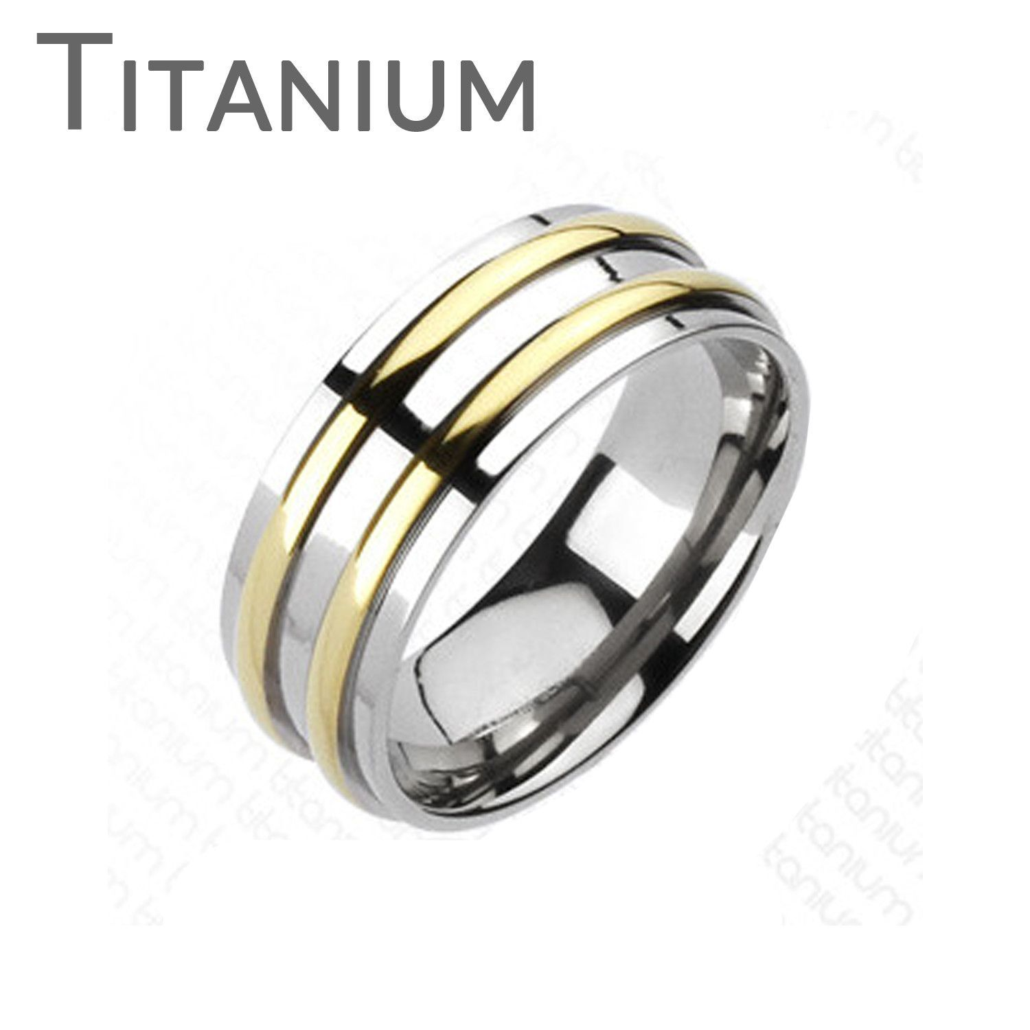 Othello  Two Golden Bands Solid Titanium Traditional Wedding Band