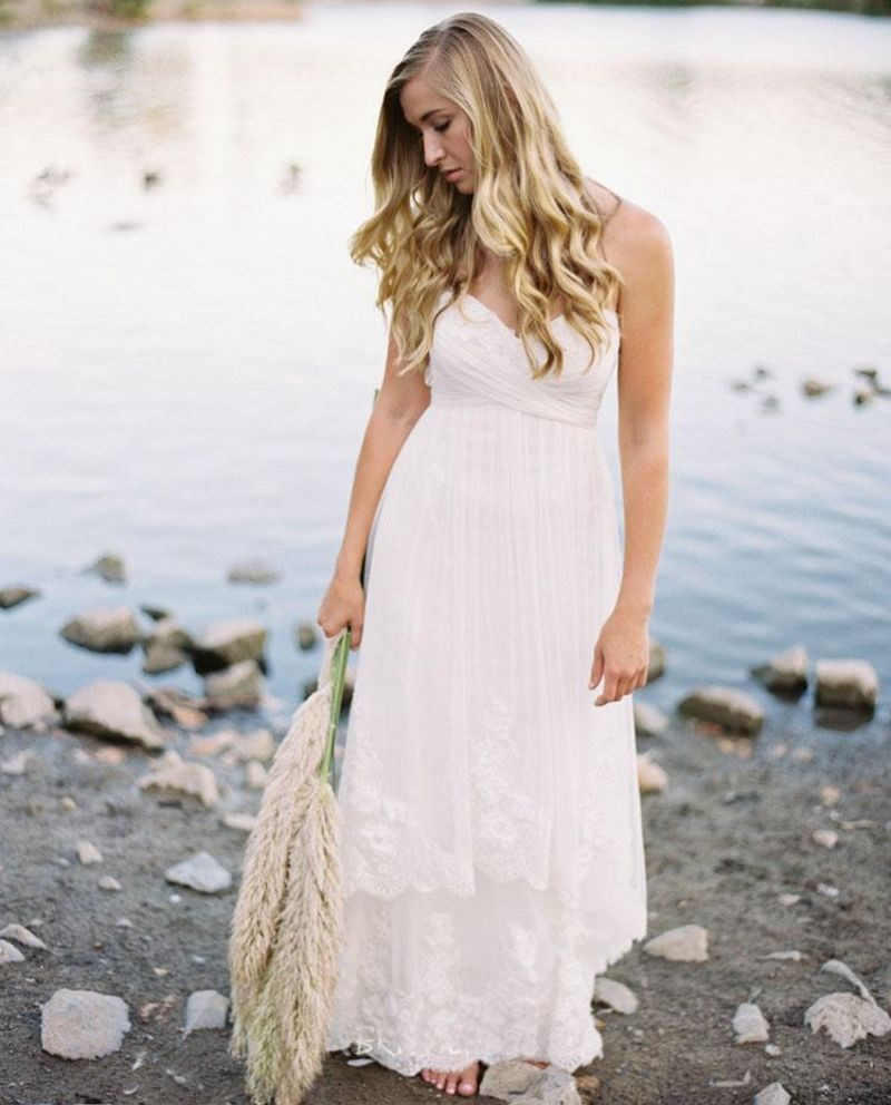 Click to buy ucuc new beach wedding dresses with appliques lace