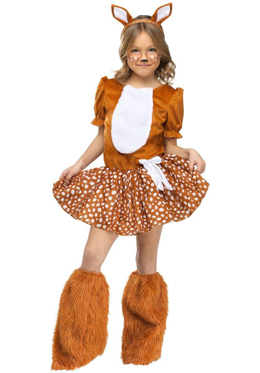 kids oh deer costume girl bambi fancy dress animal. Black Bedroom Furniture Sets. Home Design Ideas