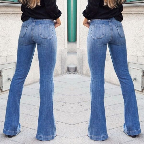cfad068ad02571 Wish | Women's Fashion High Waist Jeans Flares Casual Wide Leg Denim Jeans  Blue Sexy Long Pants bell-bottoms