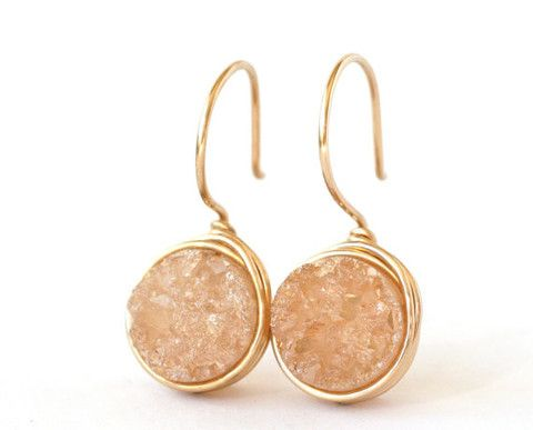 For this Southern Peach... why not Peach Druzy Dangle Earrings | Wrenn Jewelry ($35.00) #love