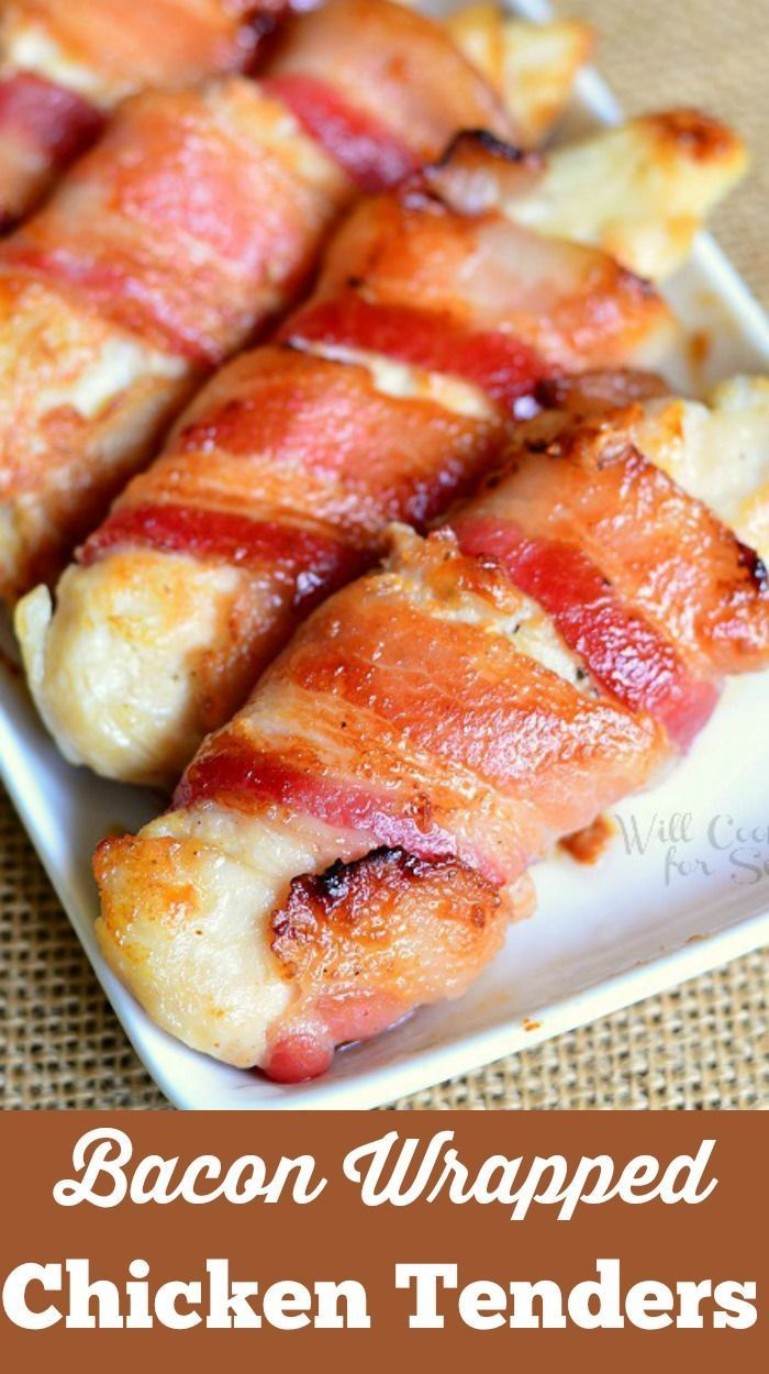 Bacon Wrapped Chicken Tenders. Juicy chicken tenders glazed with a combination of maple syrup and Dijon mustard and wrapped in thick applewood bacon.