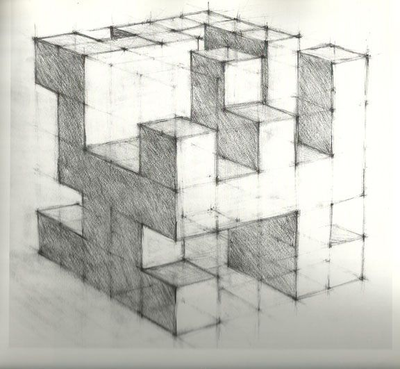 "Architecture Drawing Lessons looking at the ""cube"" as a module of construction in perspective"