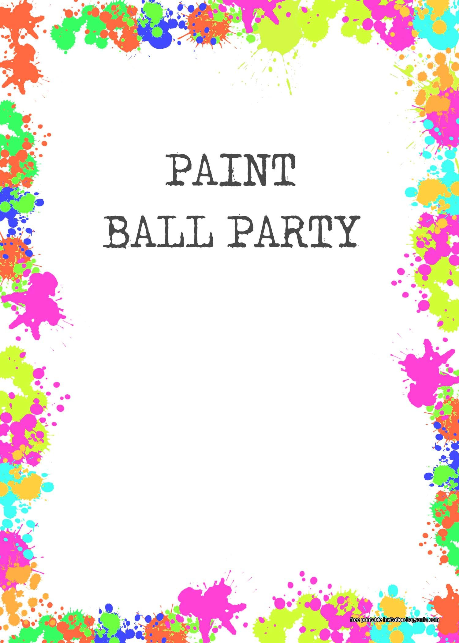 FREE Paintball Party Invitation Templates  Paint party