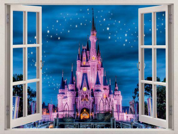 3d Window Disney Castle Wall Decal Home Decor By Windowgallery2016 Disney Wall Decals Kids Wall Decals Disney Wall