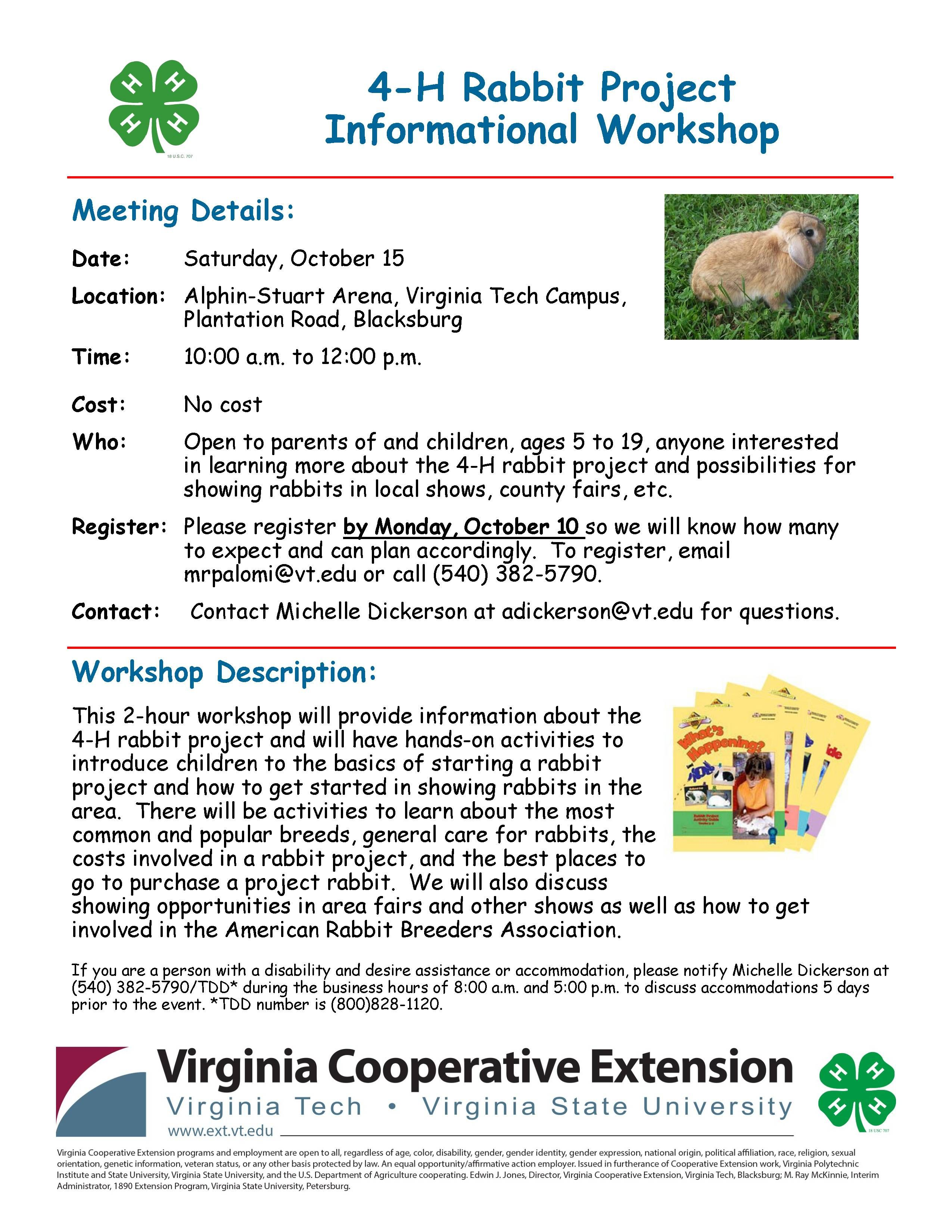 Montgomery County 4 H Presents A 4 H Rabbit Project