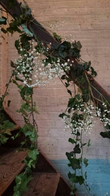 Ivy And Gypsophila Staircase Decorations For Our Latest Wedding