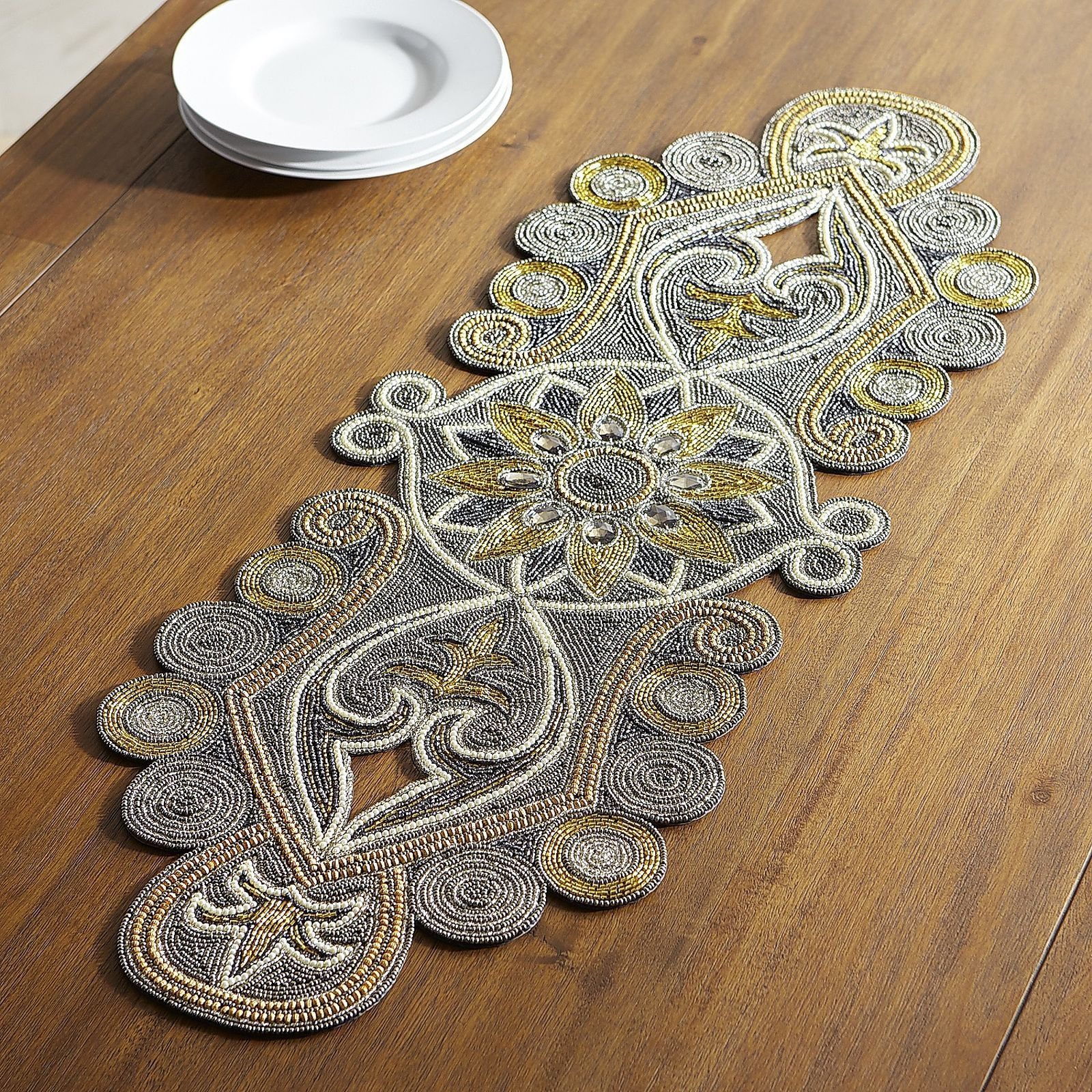 Foyer Table Runner : Our handcrafted beaded table runner exudes opulence and