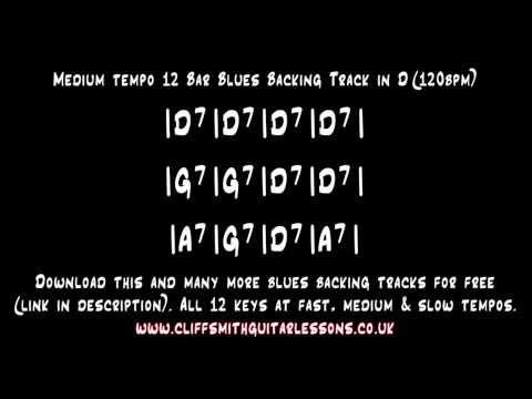 D - Medium Tempo 12 Bar Blues Backing Track   Tracks: +Tabs
