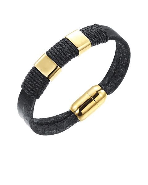 Black Leather Men's Wristband with 18K gold magnetic clasp - Forziani  - 1