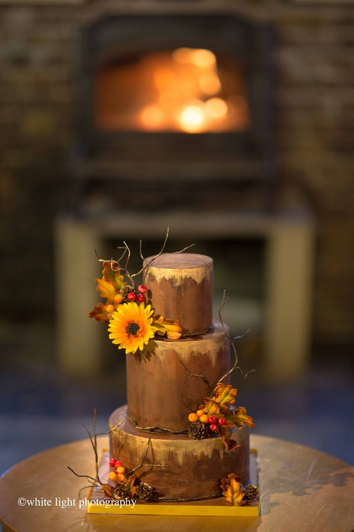 Sunflower + berries on Gold leaf on chocolate wedding cake for autumn wedding | Fall wedding