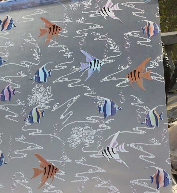 85*100cm top grade selfadhesive decorative frosted privacy window film for kids bathroom  windows Tropical fish