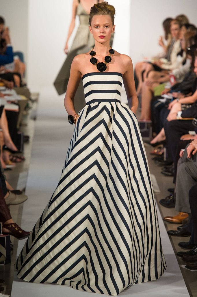 Spring Runway Look From Oscar De La Renta Navy And White Striped