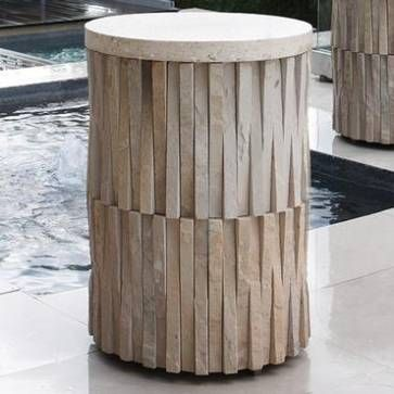 Round Stone Table Granite Strips in Sculptural Pattern Travertine
