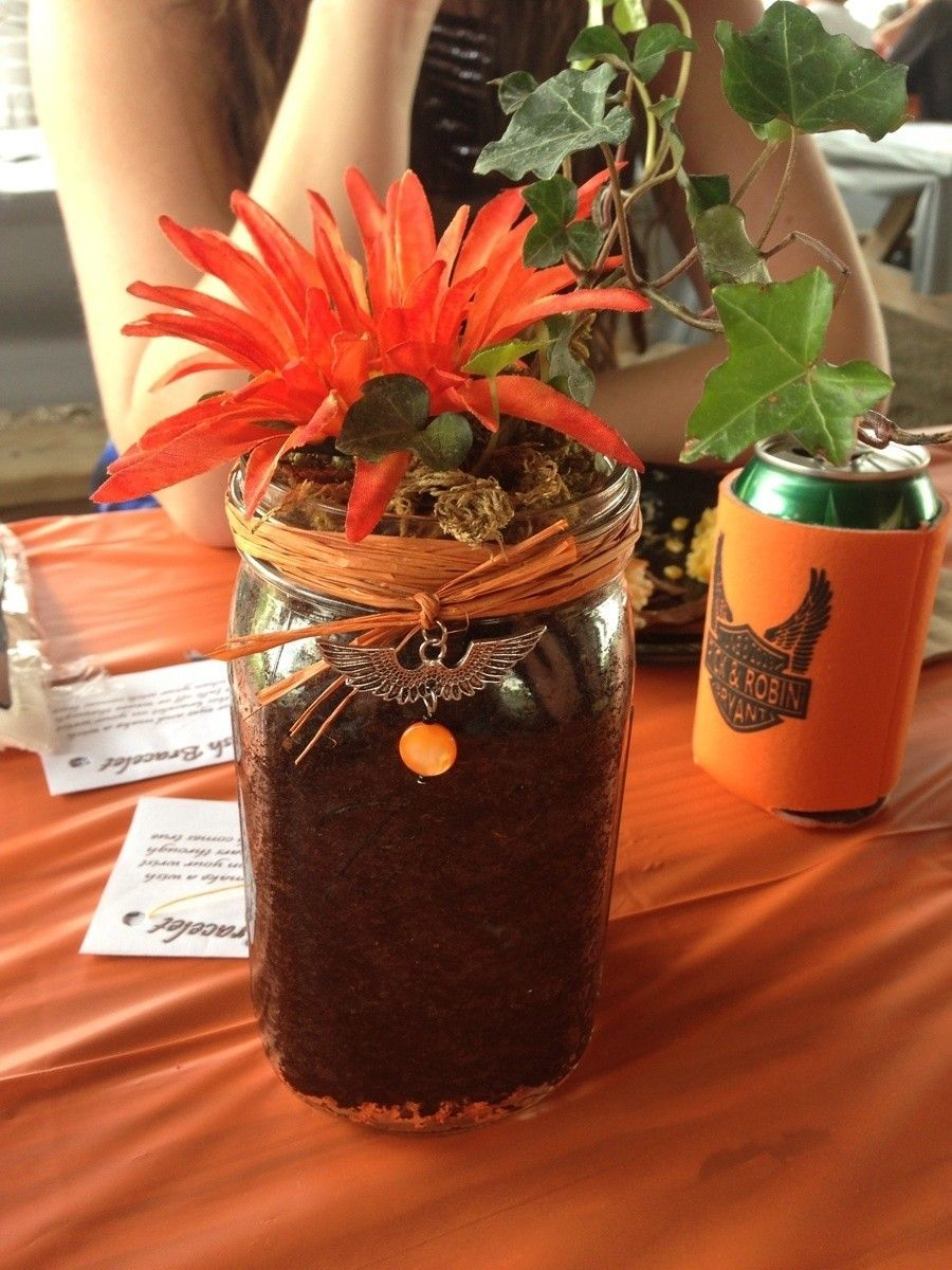 Harley Themed wedding centerpiece and the can coozies we gave away