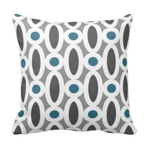 Modern Oval Links Pattern In Teal And Grey Throw Pillow Zazzle
