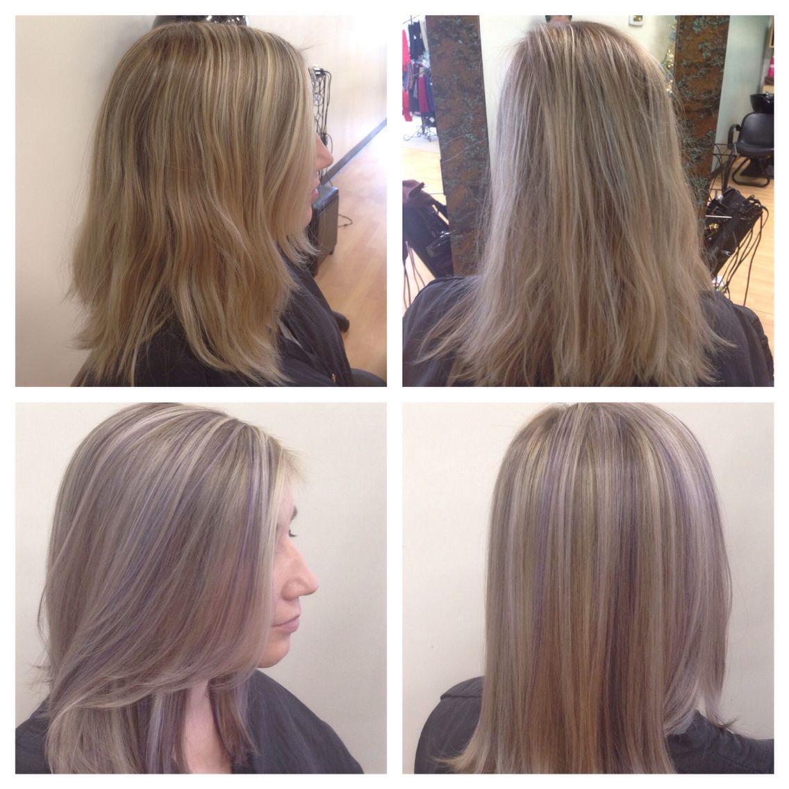 Before And After Highlighted Blonde Base Break And Violet Lowlight Long Hair Styles Hair Styles Blonde