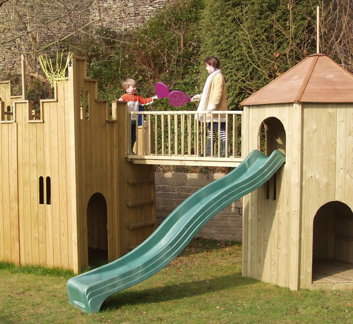 all out play castle and tower combination wooden playhouse