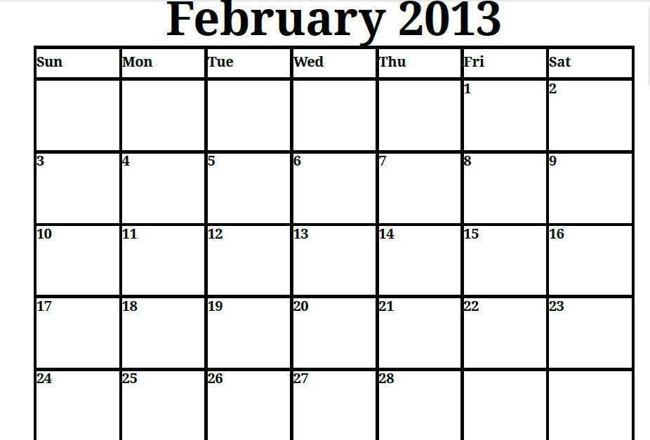 Printable Blank PDF February 2013 Calendar Printable Monthly - steps for creating a grant calendar
