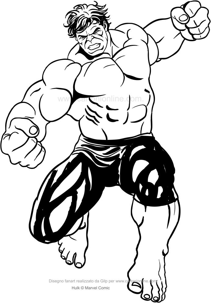 Dibujo De Hulk Golpeando Con Su Puno Para Colorear Hulk Animado Spiderman Dibujo Para Colorear Superheroes Para Dibujar